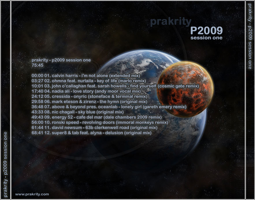 prakrity - p2009 session one -- cd cover - back