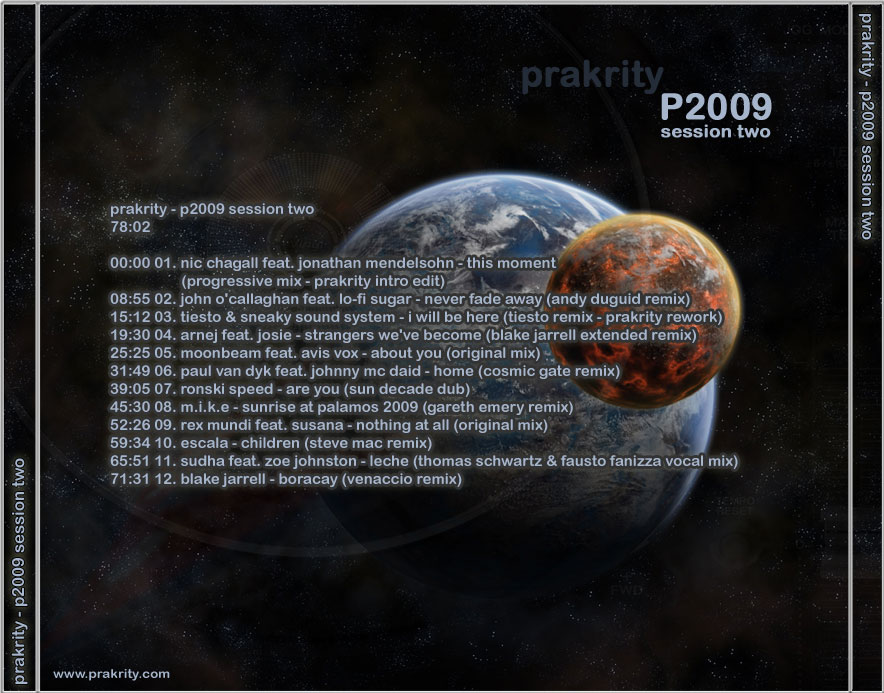 prakrity - p2009 session two -- cd cover - back