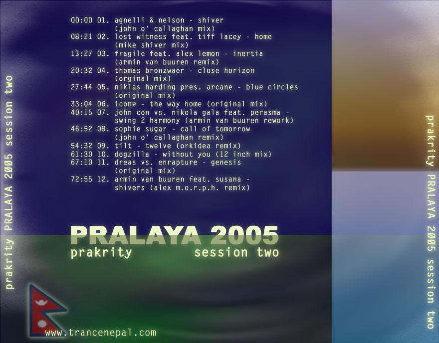 prakrity - pralaya 2005 session two -- cd cover - back